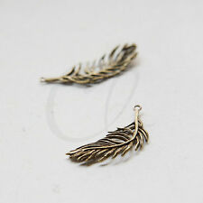 One Piece Antique Brass Charm - Pendant - Feather 38x13mm (8710Z-N-190)
