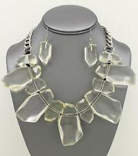 Clear Uneven Shape Drops Silver Tone Link Chunky Necklace Earring