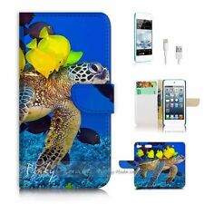 iPod Touch 6 iTouch 6 Flip Wallet Case Cover! P0398 Sea Turtle