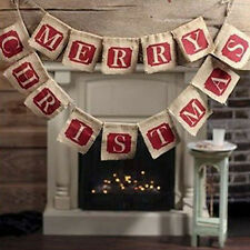 Merry Christmas Burlap Flags Hanging Banner Bunting Party Tree Wall Decor NEW