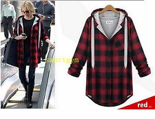 Women Long Sleeve Plus Size Grid Plaid Casual Hoodie Autumn Winter Hooded Coat