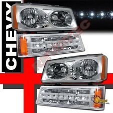 03 04 05 06 Chevy Silverado 1500 2500 Avalanche Headlights & LED Bumper Lights