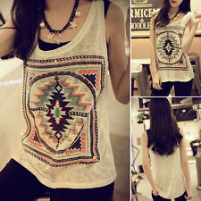 Fashion Women Geometric Print Loose Sleeveless Vest Tank Top Blouse T Shirt NEW