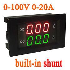 0-100V 20A Dc Digital Led Voltímetro Amperímetro AMP Medidor de voltios prueba derivación 12v (131)