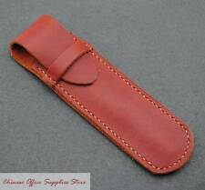 Red Genuine Leather Fountain Pen/Roller Pen Case Binder for One Pen