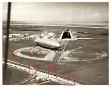 WWII PHOTO 8X10 PHOTO MOFFETT FIELD US NAVY AIRSHIP OUTSIDE IN THE HANGAR
