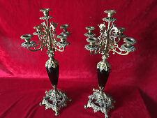 2x Art Deco Bauhaus Messing Kerzenhalter Kerzenständer Antik Barock-Stil 5-armig
