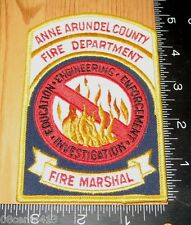 Anne Arundel County Fire Department Fire Marshal Cloth Patch Only