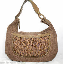 COLE HAAN 10 X 15 Brown Canvas Slouch Shoulder Bag Woven Lattice Front Detail