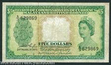 MALAYA & BRITISH BORNEO $5 P2 1953 QUEEN CURRENCY MONEY MALAYSIA CURRENCY NOTE