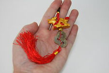 Golden Dragon Red Tassel Charm Hanger with Fortune Wealth Coins Feng Shui