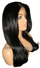 Human Hair Blend Wig Front Lace 18 Long Silky Straight Wavy Black 1 1b Moklox UK