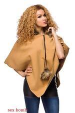 SEXY PONCHO CAMMELLO con pelliccia ecologica taglia unica (38/40/42/44) GLAMOUR