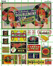 5045 DAVE'S DECALS CHEWING GUM BILLBOARD ASSORTED OLDER ADVERTISING SIGNS CAFE