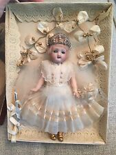 "Antique All Original 7.5"" Mignonette Doll In Presentation Box Flapper Bride"