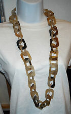 necklace monies tribal long rectangles links chain horn  sautoir