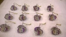 12 HANDMADE CHRISTMAS ORNAMENTS MADE WITH BLING PURPLE SILVER AND GOLD
