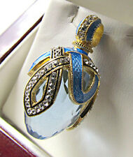 OUTSTANDING  RUSSIAN PENDANT MADE OF SOLID STERLING SILVER 925 BLUE TOPAZ 24K