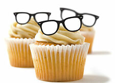 ✿ 24 Edible Rice Paper Cup Cake Toppings, Cake decs - Geek glasses spectacles ✿