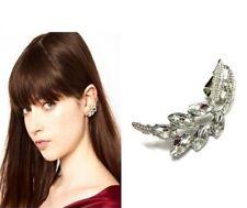 Fashion Trend Vintage Silver Leaf Crystal Cuff Clip Ear Stud Earring Left Ear