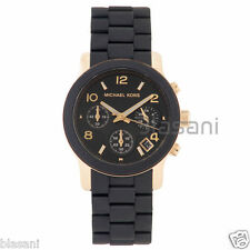 Michael Kors Original MK5191 Women's PU Black Stainless Steel Chronograph Watch