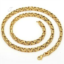 5MM Men Chain Necklace Stainless Steel Byzantine Box Silver Gold Black Bracelet