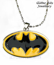 Large BATMAN Logo Necklace Chain Pendant Dark Knight BAT Superhero DC COMICS