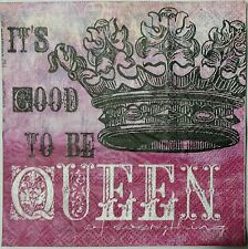 QUEEN'S CROWN  FOUR(4) single COCKTAIL paper napkins for decoupage 3-ply
