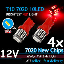 4x RED T10 LED W5W Car Wedge Tail Side Park Light Blub Super Bright 7020SMD 12V