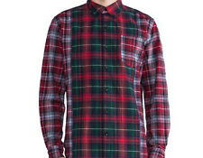 Insight Check Mate Button Down Shirt (XS) Beet