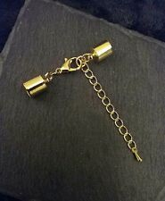 4 sets of 14mm Gold Plated Lobster Clasps with End Caps or Tips for 7mm Cord