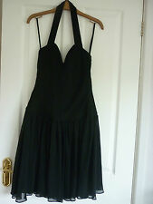 STUNNING REISS BLACK CHIFFON FITTED BODICE  PARTY DRESS. UK 10, EUR 36, US 6.