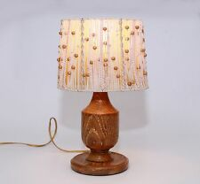 Vintage/Retro Wood Table /Bedside Lamp with beaded String Oval Lampshade