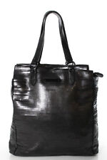 Juicy Couture Black Sequin Leather Trimmed Large Tote Handbag