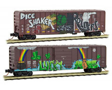 Micro-Trains MTL N Graffiti Lucky 2-Pack BNSF CP 50' Boxcars 99305380 March 2017