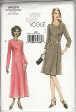 Vogue Sewing Pattern # VP974 Misses Petite A-Line Fitted Dress Size 18-20-22-24