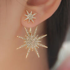 Trendy Women Crystal Eardrop Double Sided Star Earrings Ear Stud Plug Pin 1Pc