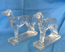 Vintage MARTINSVILLE GLASS CO RUSSIAN WOLFHOUND BOOKENDS BORZOI CRYSTAL