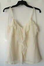 Banana Republic 100% Silk Cami Blouse Ruffle Beige Solid Evening Size 4 NWT