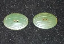 Pair of vintage Watermelon shaped Green bakelite Buttons