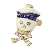 R193 BETSEY JOHNSON Exquisite Blue Sailor Skull Ring US