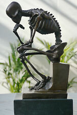 SKELETON THINKER PURE BRONZE SIGNED STATUE NO RESERVE