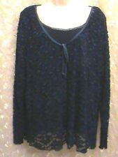 b.i.y.a.y.c.d.a. Navy Blouse Lace Overlay Woman 2X Dressy Plus Long Sleeve