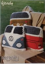 Wendy SERENITY SUPER CHUNKY.Knitting pattern 5748. KNITTED VW CAMPERVAN  CUSHION