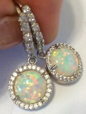 Amazing Fire Opal  and  White Topaz Lever back earrings  925 silver