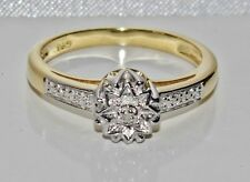 Beautiful 9ct Yellow Gold & Silver Diamond Fancy Engagement Ring - size M