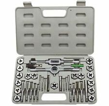TAP AND DIE SET 40PC PRO METRIC WRENCH CUTS M3-M12 BOLTS HARD CASE ENGINEERS KIT