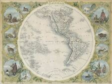GEOGRAPHY MAP ILLUSTRATED ANTIQUE TALLIS WESTERN HEMISPHERE POSTER PRINT BB4496A