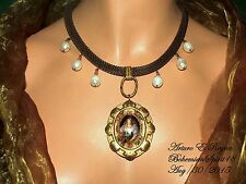 Arturo E.Reyna VICTORIAN STYLE GLASS CAMEO REAL PEARLS GEMSTONE BRASS NECKLACE