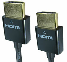 1m HDMI Male Plug Gold Lead With ethernet SUPER SLIM LINE THIN + FLEXIBLE CABLE